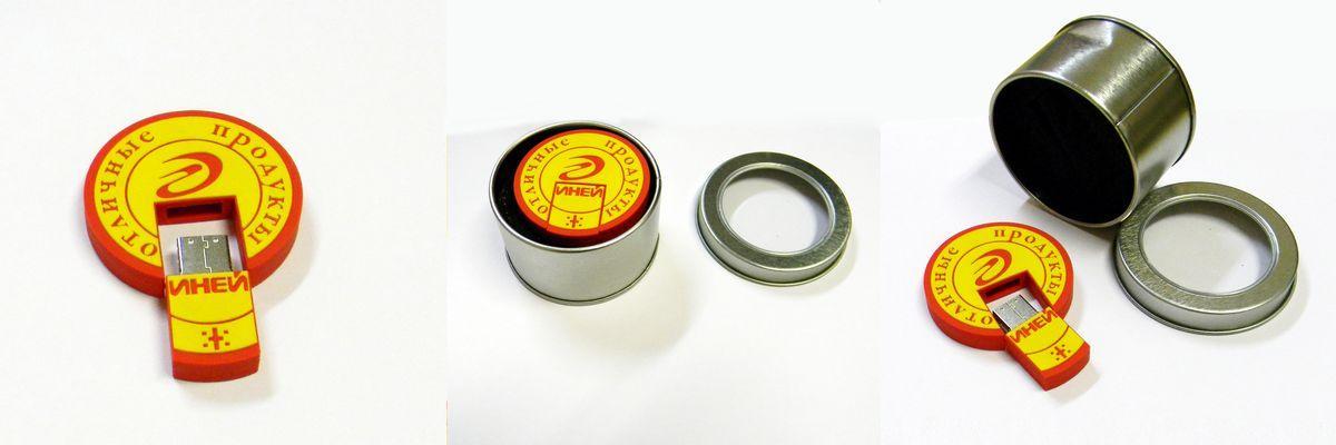 Фирменная промо-флешка на 8 гб из ПВХ пластика для компании «Иней»